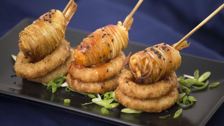 In Bucate - Creveti in cataif de cartof, Inele de ceapa pane